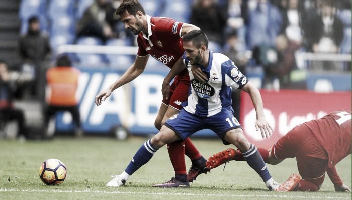 Sevilla vira no último minuto e bate Depor fora de casa