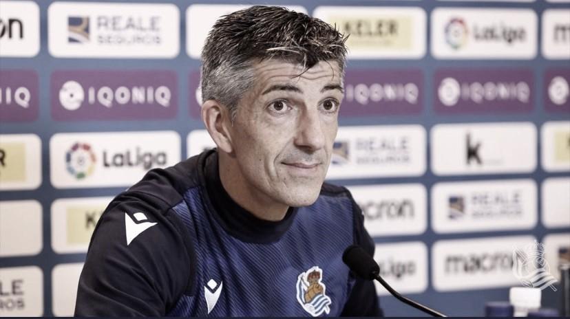 """Imanol Alguacil: """"Tenemos que ganar tres partidos para asegurarnos una plaza en la Europa League"""""""