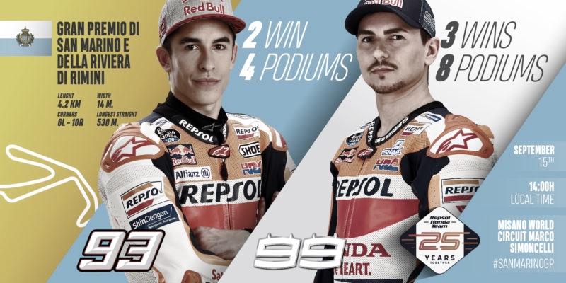 El equipo Repsol Honda, listo para la batalla de Misano