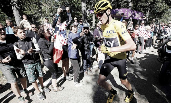Unbelievable scenes on stage 12 of the Tour de France as Chris Froome resulted to running up Ventoux in his cleats