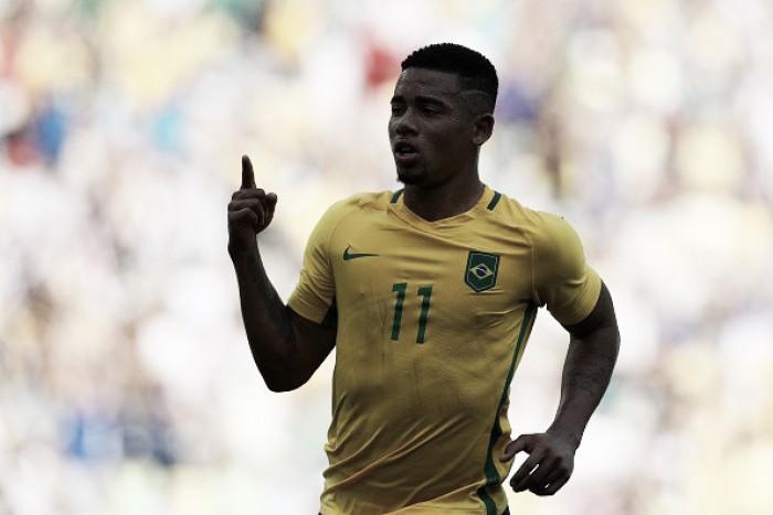 Gabriel Jesus celebra goleada diante de Honduras e classificação à final olímpica