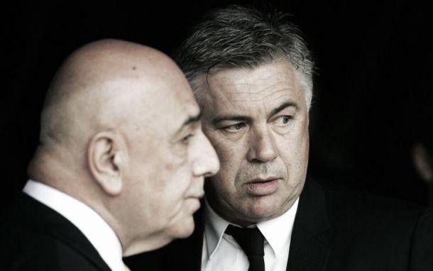 """Milan - Ancelotti, Galliani: """"Ho un mandato dal presidente di riportarlo in rossonero"""""""