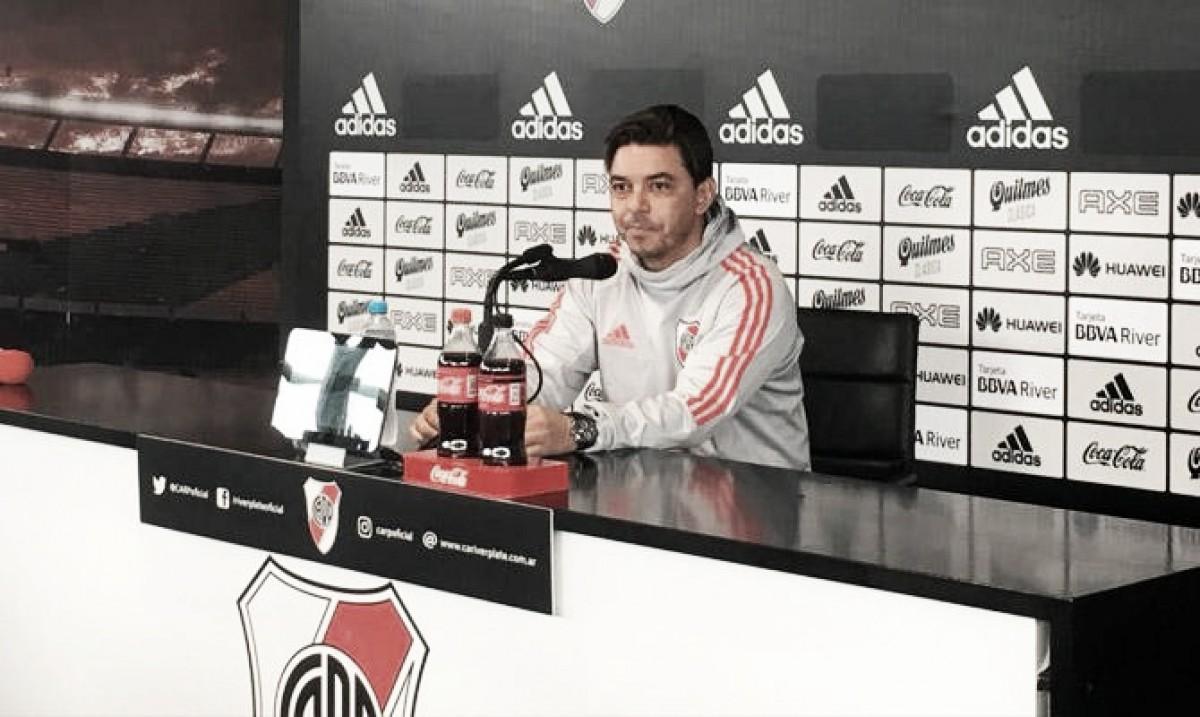 Gallardo: ''Jugaremos con el equipo que lo viene haciendo en Copa Argentina''