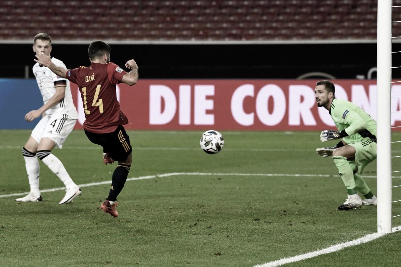 Alemanha decepciona, aposta em contra-ataque e cede empate no fim à Espanha