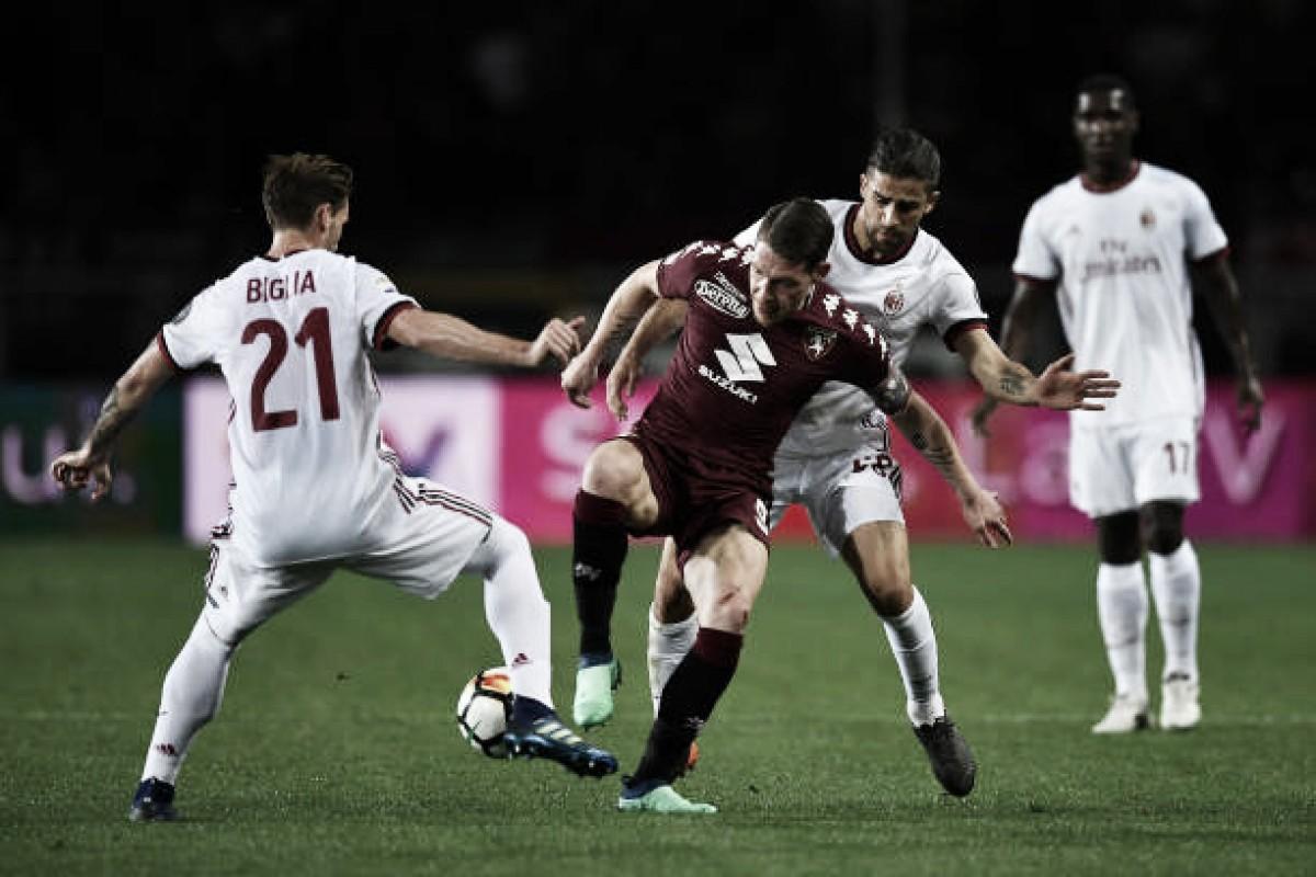 Milan empata com Torino fora de casa e chega ao quinto jogo sem vitórias na Serie A