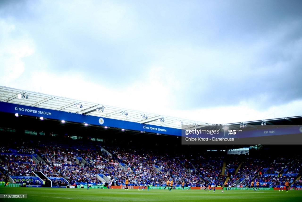 LEICESTER, ENGLAND - AUGUST 11: A general view of the match during the Premier League match between Leicester City and Wolverhampton Wanderers at The King Power Stadium on August 11, 2019 in Leicester, United Kingdom. (Photo by Chloe Knott - Danehouse/Getty Images)