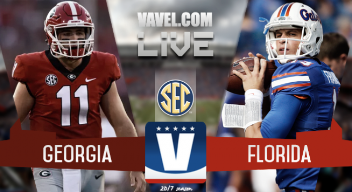 Score Georgia Bulldogs vs Florida Gators of the 2017 World's Largest Outdoor Cocktail Party (42-7)