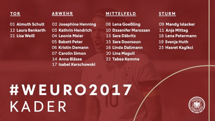 Germany names their UEFA Women's Euro 2017 squad - VAVEL com