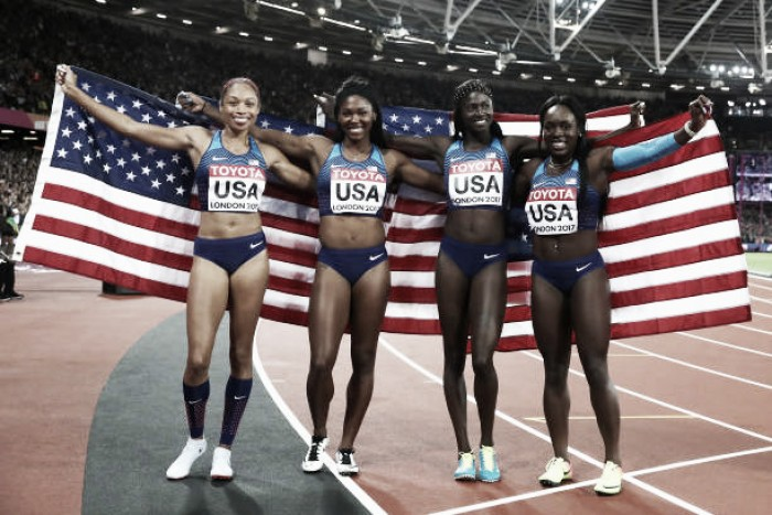 USA reclaim 4x100m world title, Britain take silver