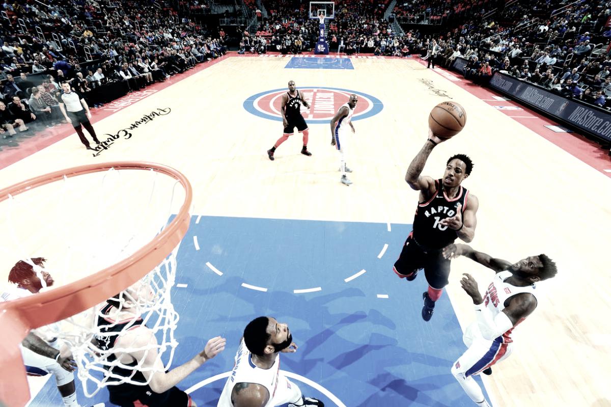 DeRozan brilha, Raptors vencem Pistons na prorrogação e garantem vaga nos playoffs