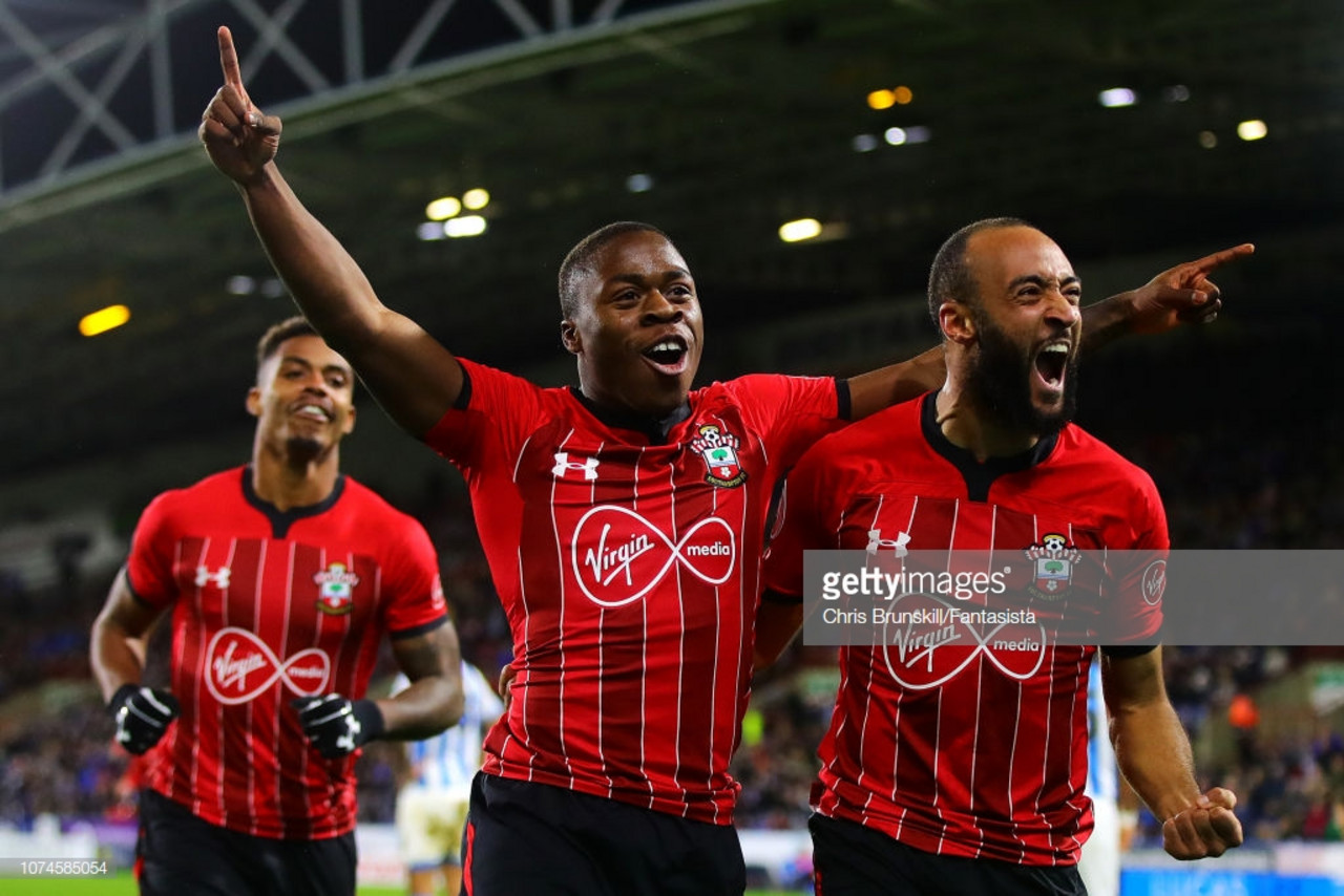 Southampton players celebrate their third goal in the 3-1 win over Huddersfield Town. (picture: Getty Images / Chris Brunskill/Fantasista)