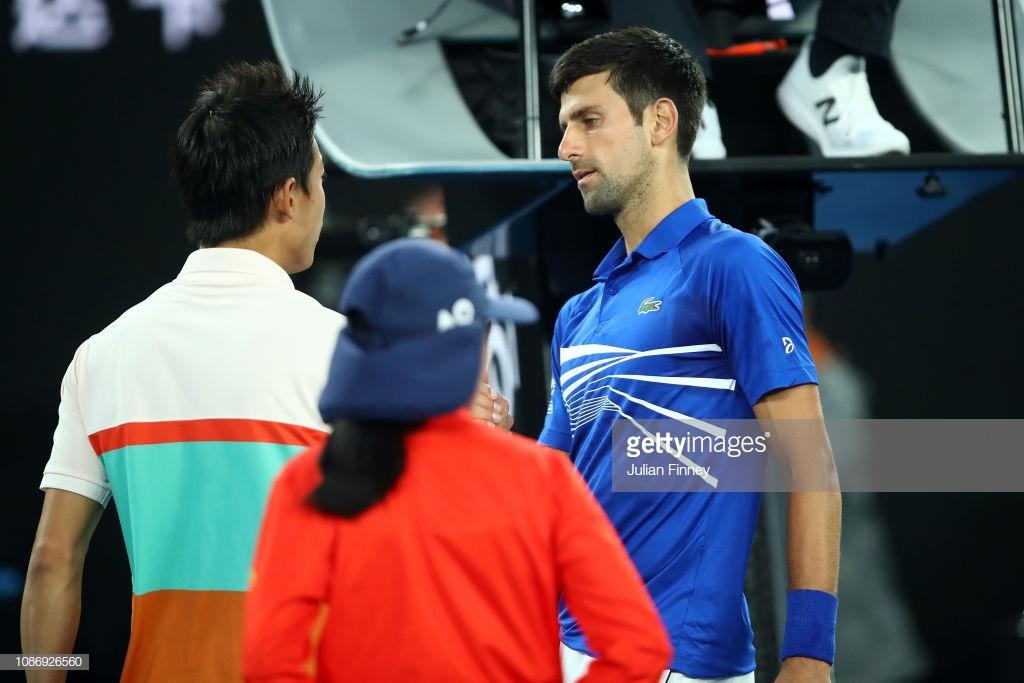 Australian Open: Novak Djokovic seals semifinal place after Kei Nishikori retires