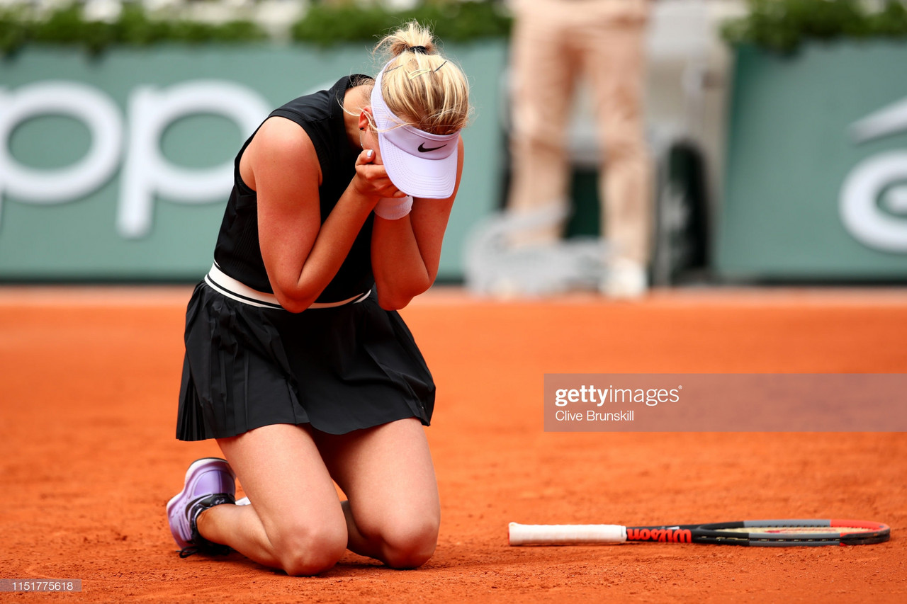 Potapova reacts following her memorable French Open debut/Photo: Clive Brunskill/Getty Images