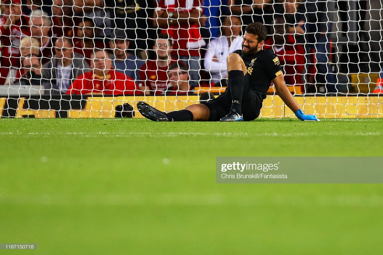 Liverpool confirm goalkeeper Alisson Becker out for 'a few weeks' with calf injury