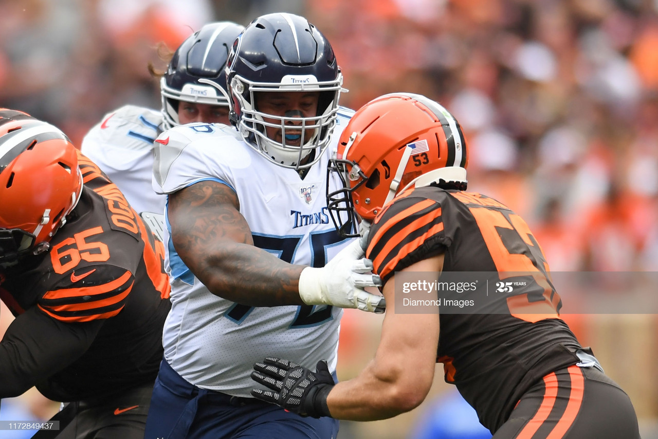 CLEVELAND, OH - SEPTEMBER 8, 2019: Offensive guard Rodger Saffold #76 of the Tennessee Titans blocks middle linebacker Joe Schobert #53 of the Cleveland Browns in the first quarter of a game on September 8, 2019 at FirstEnergy Stadium in Cleveland, Ohio. Tennessee won 43-13. (Photo by: 2019 Nick Cammett/Diamond Images via Getty Images)