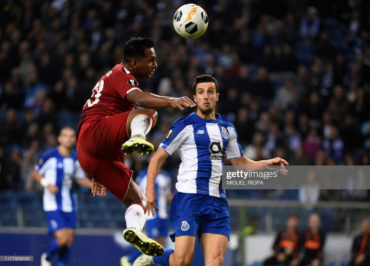 Alfredo Morelos vies with FC Porto's defender Ivan Marcano during their recent 1-1- draw (Photo by MIGUEL RIOPA/AFP via Getty Images)