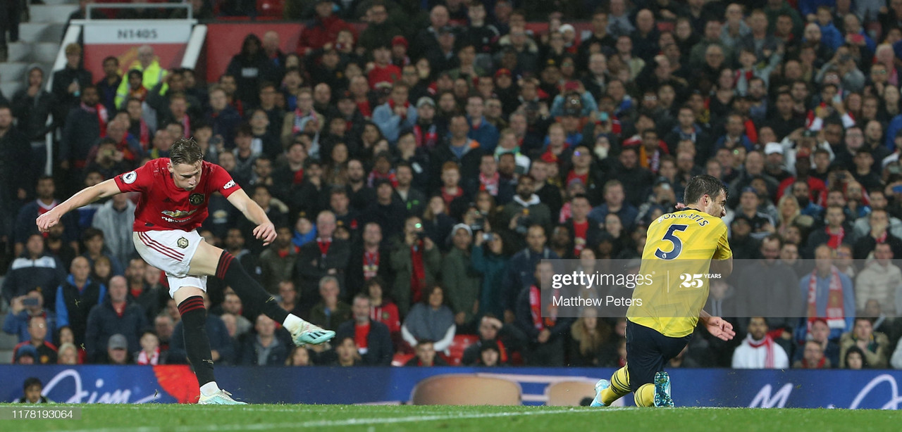 MANCHESTER, ENGLAND - SEPTEMBER 30: Scott McTominay of Manchester United scores their first goal during the Premier League match between Manchester United and Arsenal FC at Old Trafford on September 30, 2019 in Manchester, United Kingdom. (Photo by Matthew Peters/Manchester United via Getty Images)