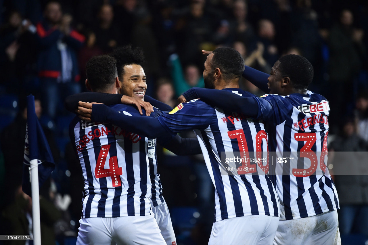 Matheus Pereira of West Bromwich Albion celebrates after scoring the second goal during the Sky Bet Championship match between West Bromwich Albion and Bristol City at The Hawthorns on November 27, 2019 in West Bromwich, England. (Photo by Nathan Stirk/Getty Images)