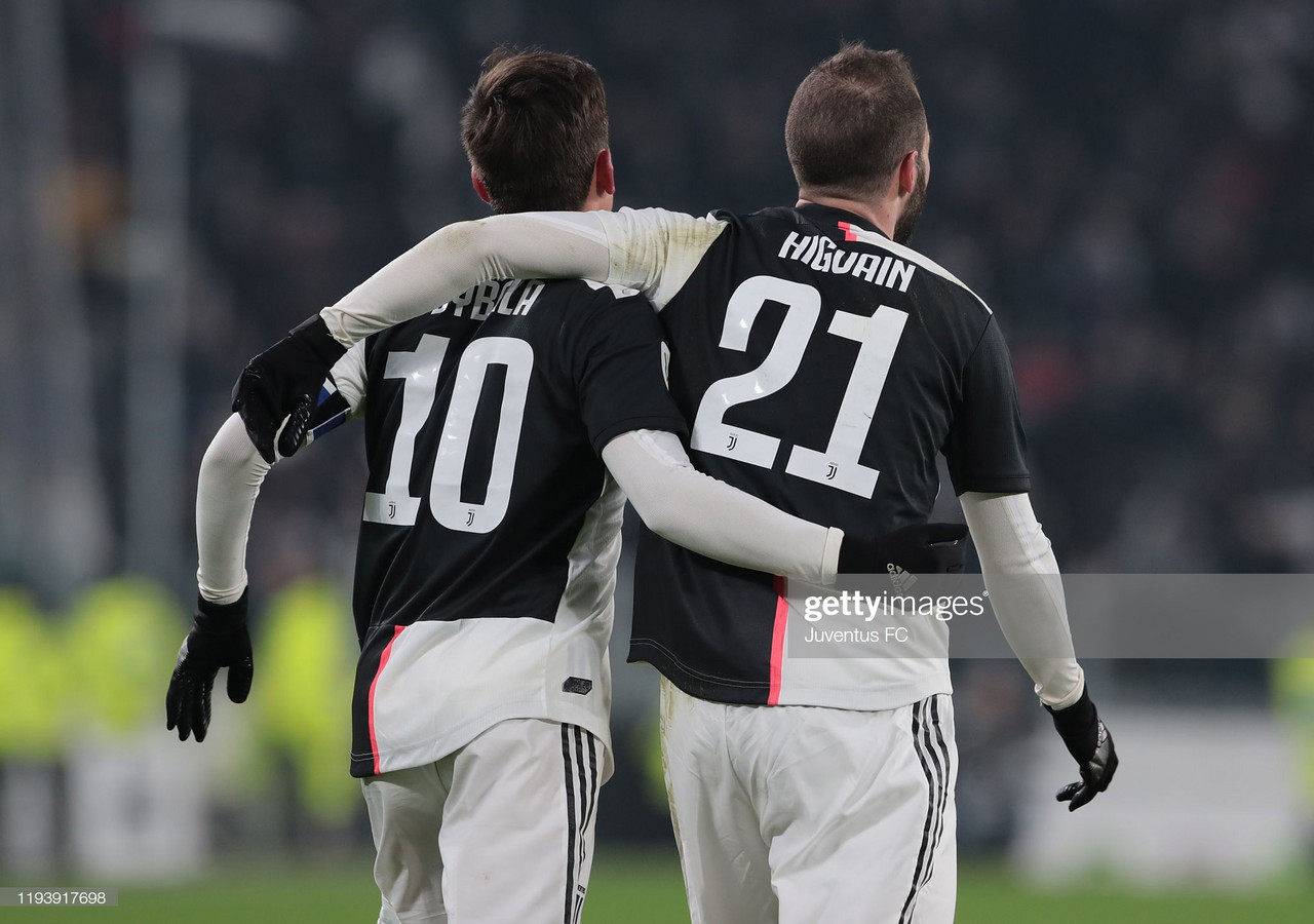 Juventus' Paulo Dybala and Gonzalo Higuain celebrate Higuain's opening goal against Udinese during their midweek Coppa Italia match (Juventus FC/Getty Images)