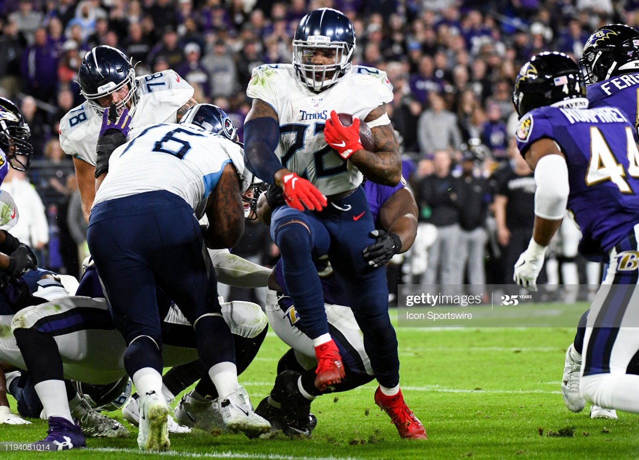 BALTIMORE, MD - JANUARY 11: Tennessee Titans running back Derrick Henry (22) runs out of tackle attempt on January 11, 2020, at M&T Bank Stadium in Baltimore, MD. in the AFC Divisional Playoff against the Baltimore Ravens. (Photo by Mark Goldman/Icon Sportswire via Getty Images)