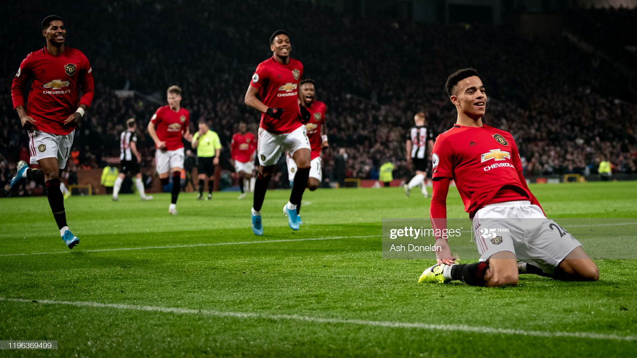 MANCHESTER, ENGLAND - DECEMBER 26: Mason Greenwood of Manchester United celebrates scoring their second goal during the Premier League match between Manchester United and Newcastle United at Old Trafford on December 26, 2019 in Manchester, United Kingdom. (Photo by Ash Donelon/Manchester United via Getty Images)
