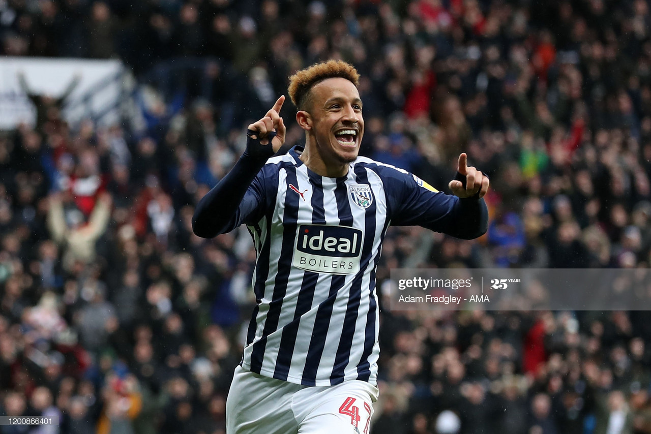 Callum Robinson of West Bromwich Albion celebrates after scoring a goal to make it 1-0 during the Sky Bet Championship match between West Bromwich Albion and Nottingham Forest at The Hawthorns on February 15, 2020 in West Bromwich, England. (Photo by Adam Fradgley - AMA/WBA FC via Getty Images)