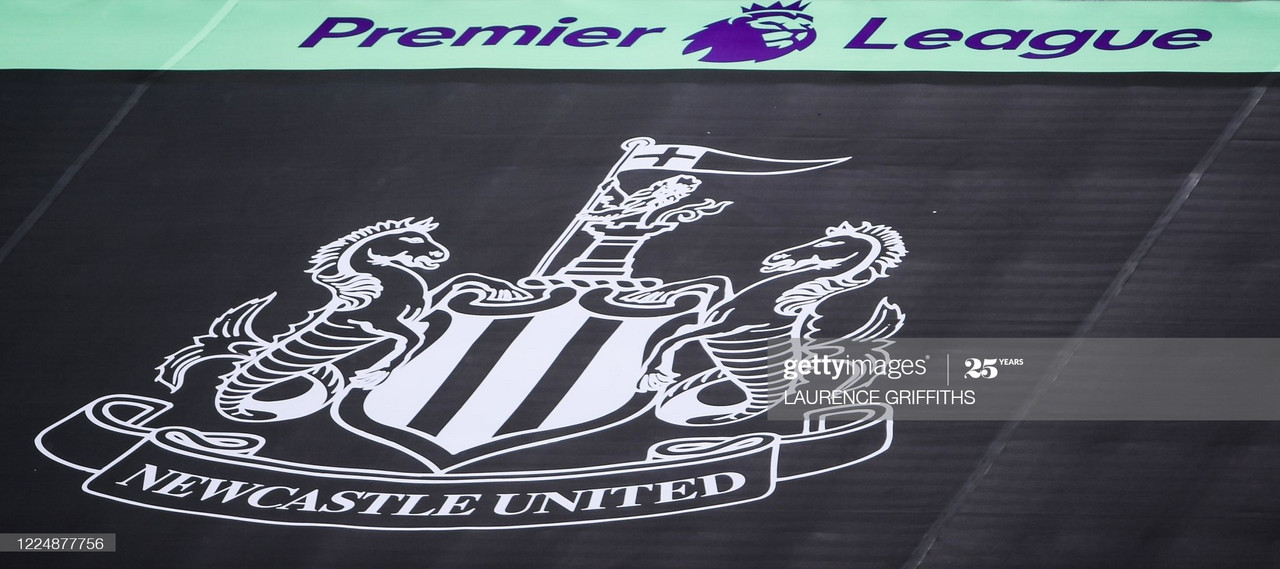 The logo of the Newcastle team is displayed on the empty rows of seats at the stadium prior to the English Premier League football match between Newcastle United and West Ham United at St James' Park in Newcastle-upon-Tyne, north east England on July 5, 2020. (Photo by LAURENCE GRIFFITHS / POOL / AFP) / RESTRICTED TO EDITORIAL USE. No use with unauthorized audio, video, data, fixture lists, club/league logos or 'live' services. Online in-match use limited to 120 images. An additional 40 images may be used in extra time. No video emulation. Social media in-match use limited to 120 images. An additional 40 images may be used in extra time. No use in betting publications, games or single club/league/player publications. / (Photo by LAURENCE GRIFFITHS/POOL/AFP via Getty Images)