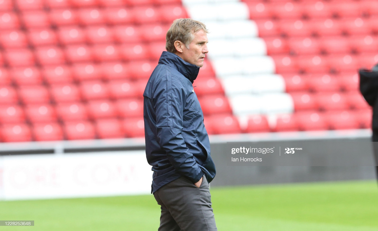 SUNDERLAND, ENGLAND - AUGUST 29: Sunderland manager Phil Parkinson during a pre-season friendly match between Sunderland AFC and Harrogate Town at Stadium of Light on August 29, 2020 in Sunderland, England. (Photo by Ian Horrocks/Sunderland AFC via Getty Images)