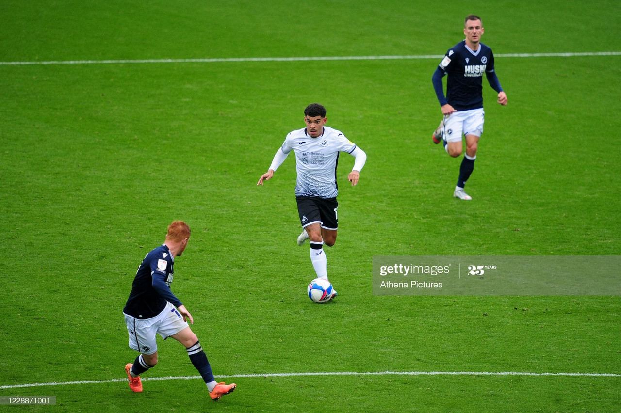SWANSEA, WALES - OCTOBER 03: Morgan Gibbs-White of Swansea City in action during the Sky Bet Championship match between Swansea City and Millwall at the Liberty Stadium on October 03, 2020 in Swansea, Wales. (Photo by Athena Pictures/Getty Images)