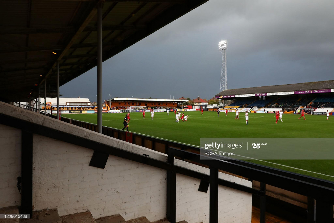 Cambridge United face Bolton Wanderers at the Abbey Stadium (Photo by Richard Calver/SOPA Images/LightRocket via Getty Images)