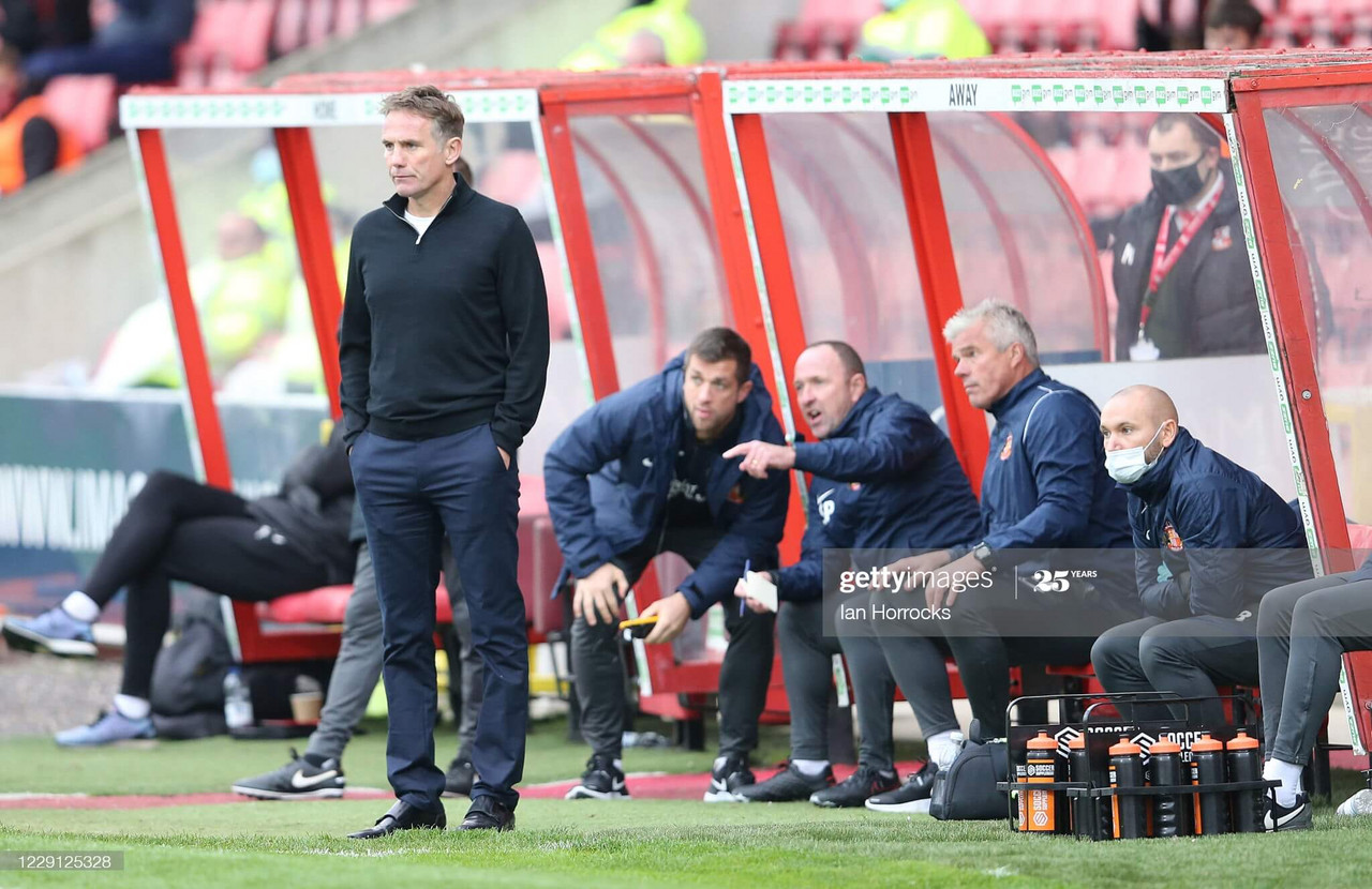 Sunderland manager Phil Parkinson during the Sky Bet League One match between Swindon Town and Sunderland at County Ground on October 17, 2020 in Swindon, England. (Photo by Ian Horrocks/Getty Images)