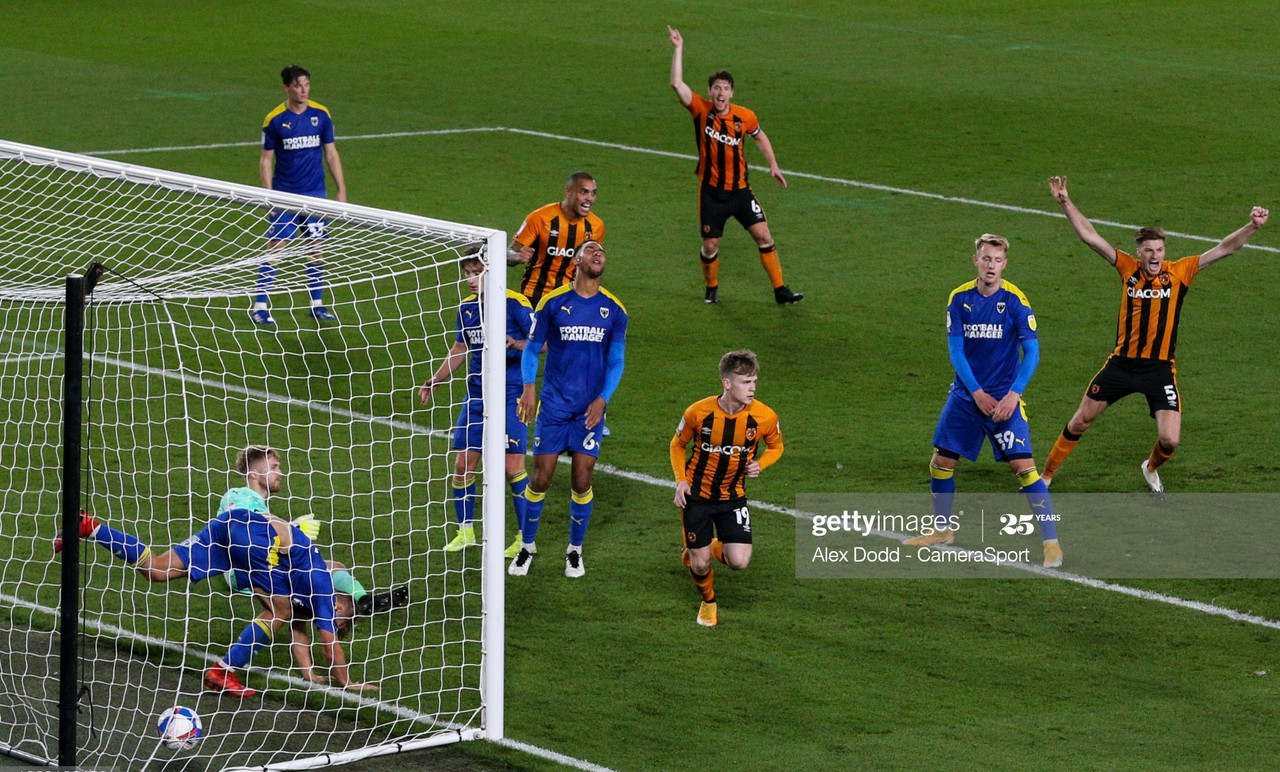 <div>Above: Hometown boy Keane Lewis Potter scored the only goal of the game to send Hull City top of League One</div>(Photo by Alex Dodd - CameraSport via Getty Images)