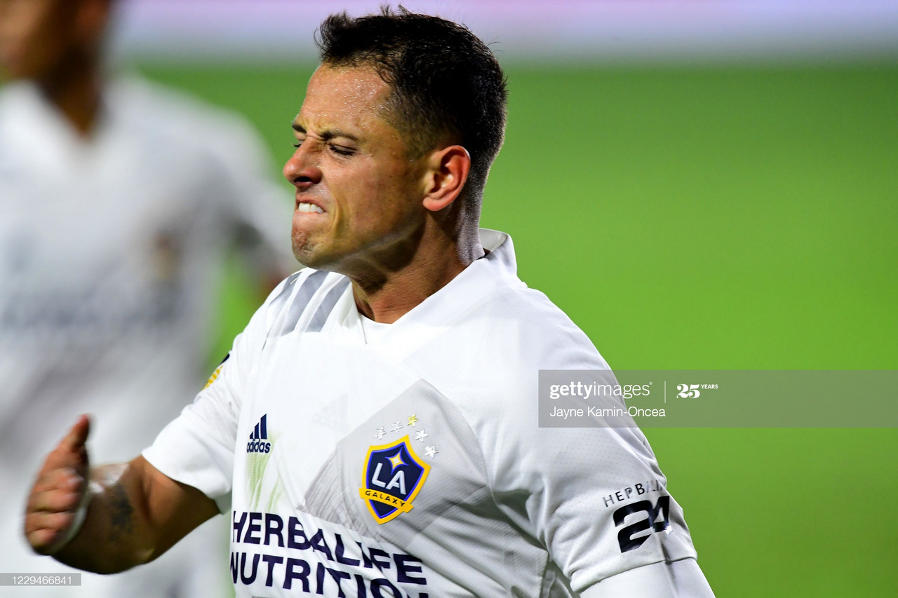 <div>Above: Javier Hernandez scored only his second goal of the season in the 1-1 draw with Seattle</div>&nbsp;(Photo by Jayne Kamin-Oncea/Getty Images)