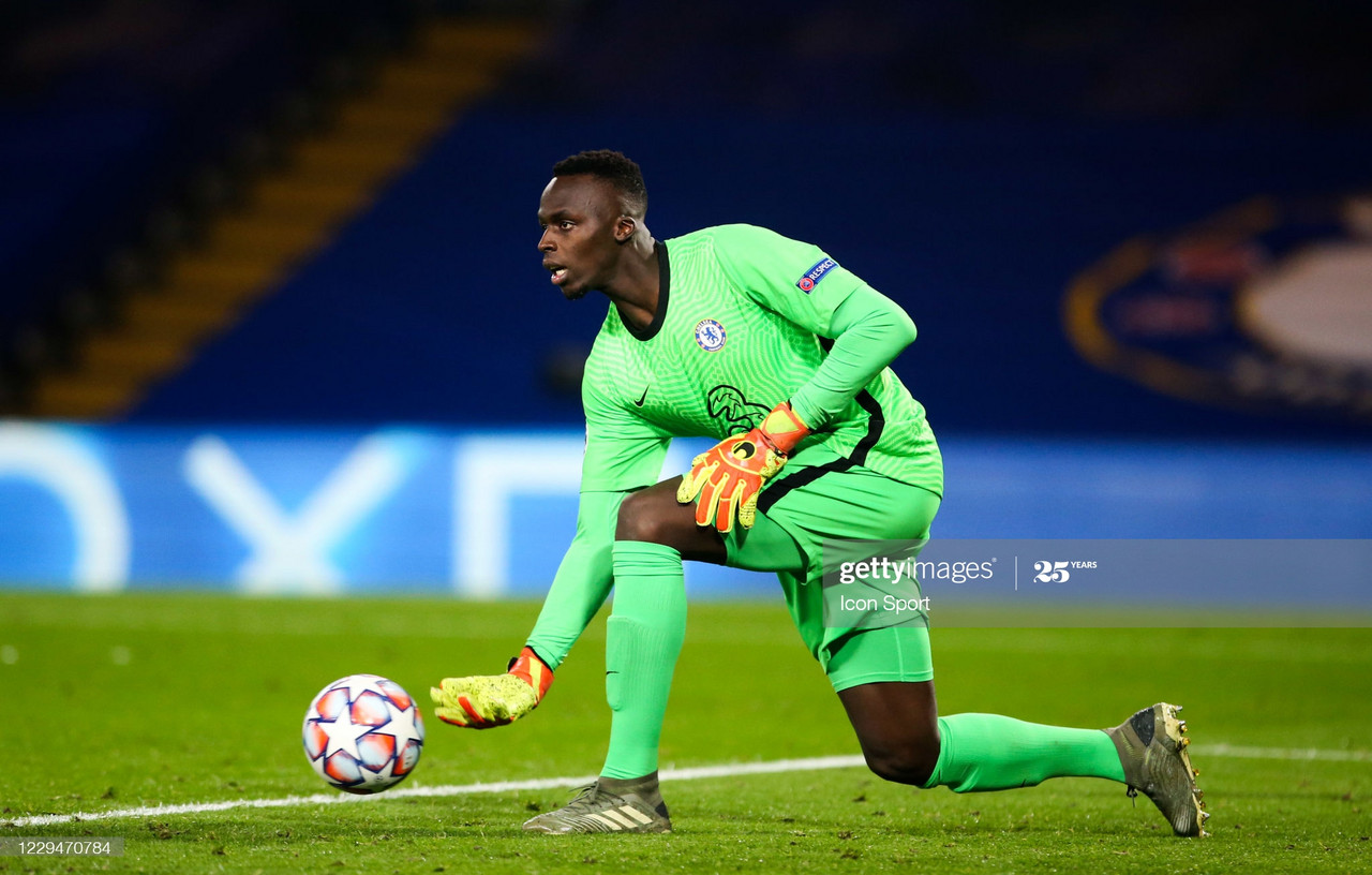 Edouard Mendy of Stade Rennais in action during the line up during the UEFA Champions League match between Chelsea and Rennes at Stamford Bridge on November 4, 2020 in London, England. (Photo by Steven Paston/Icon Sport via Getty Images)