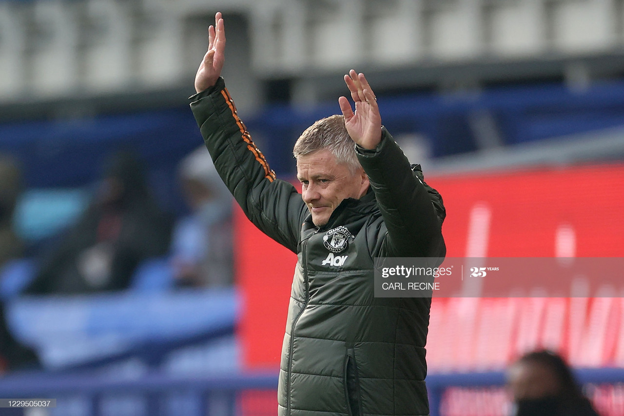 <div>Manchester United's Norwegian manager Ole Gunnar Solskjaer reacts during the English Premier League football match between Everton and Manchester United at Goodison Park in Liverpool, north west England on November 7, 2020. (Photo by CARL RECINE / POOL / AFP) / RESTRICTED TO EDITORIAL USE. No use with unauthorized audio, video, data, fixture lists, club/league logos or 'live' services. Online in-match use limited to 120 images. An additional 40 images may be used in extra time. No video emulation. Social media in-match use limited to 120 images. An additional 40 images may be used in extra time. No use in betting publications, games or single club/league/player publications. / (Photo by CARL RECINE/POOL/AFP via Getty Images)</div><div><br></div>
