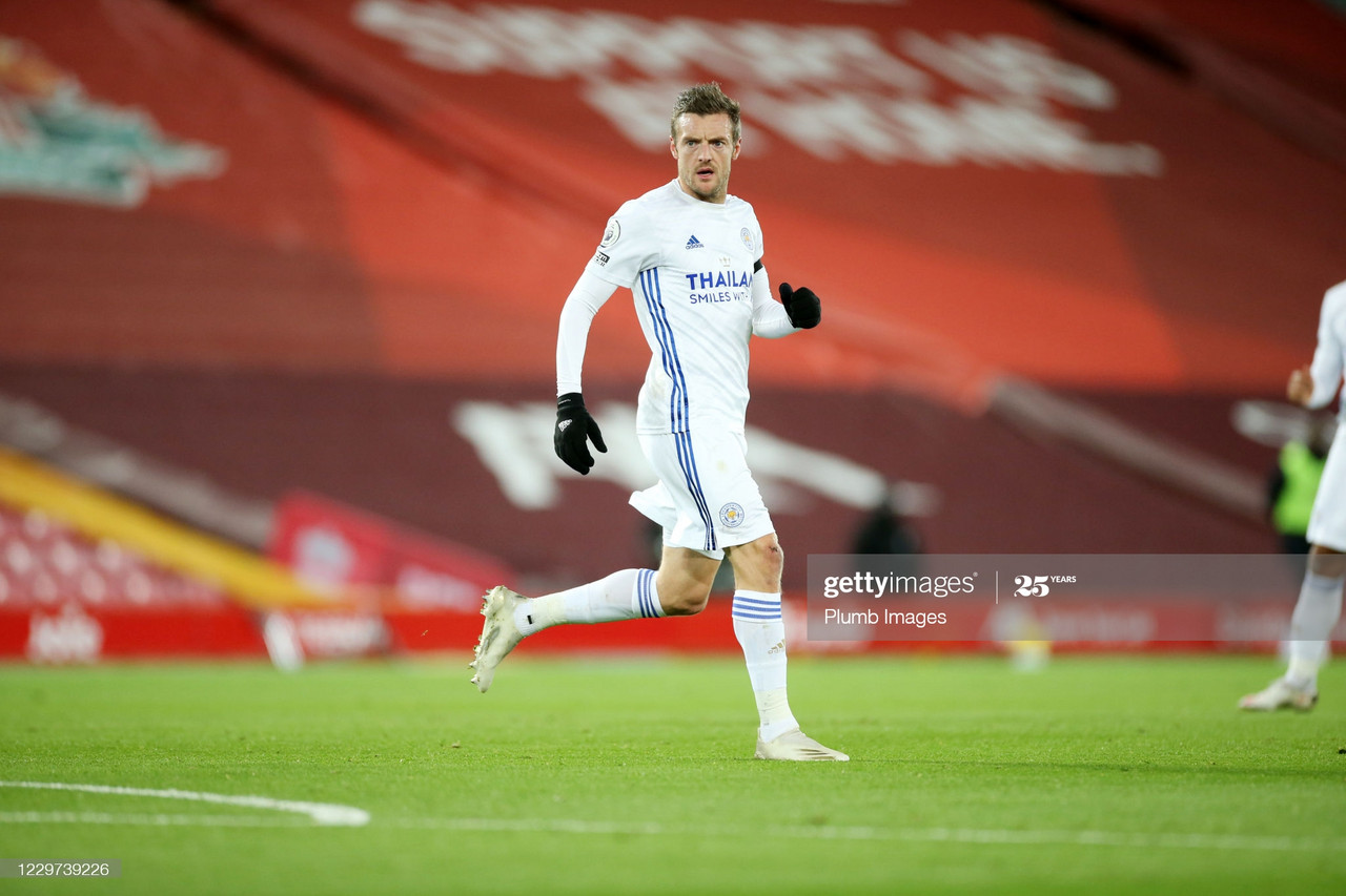 LIVERPOOL, ENGLAND - NOVEMBER 22: Jamie Vardy of Leicester City during the Premier League match between Liverpool and Leicester City at Anfield on November 22, 2020 in Liverpool, United Kingdom. Sporting stadiums around the UK remain under strict restrictions due to the Coronavirus Pandemic as Government social distancing laws prohibit fans inside venues resulting in games being played behind closed doors. (Photo by Plumb Images/Leicester City FC via Getty Images)