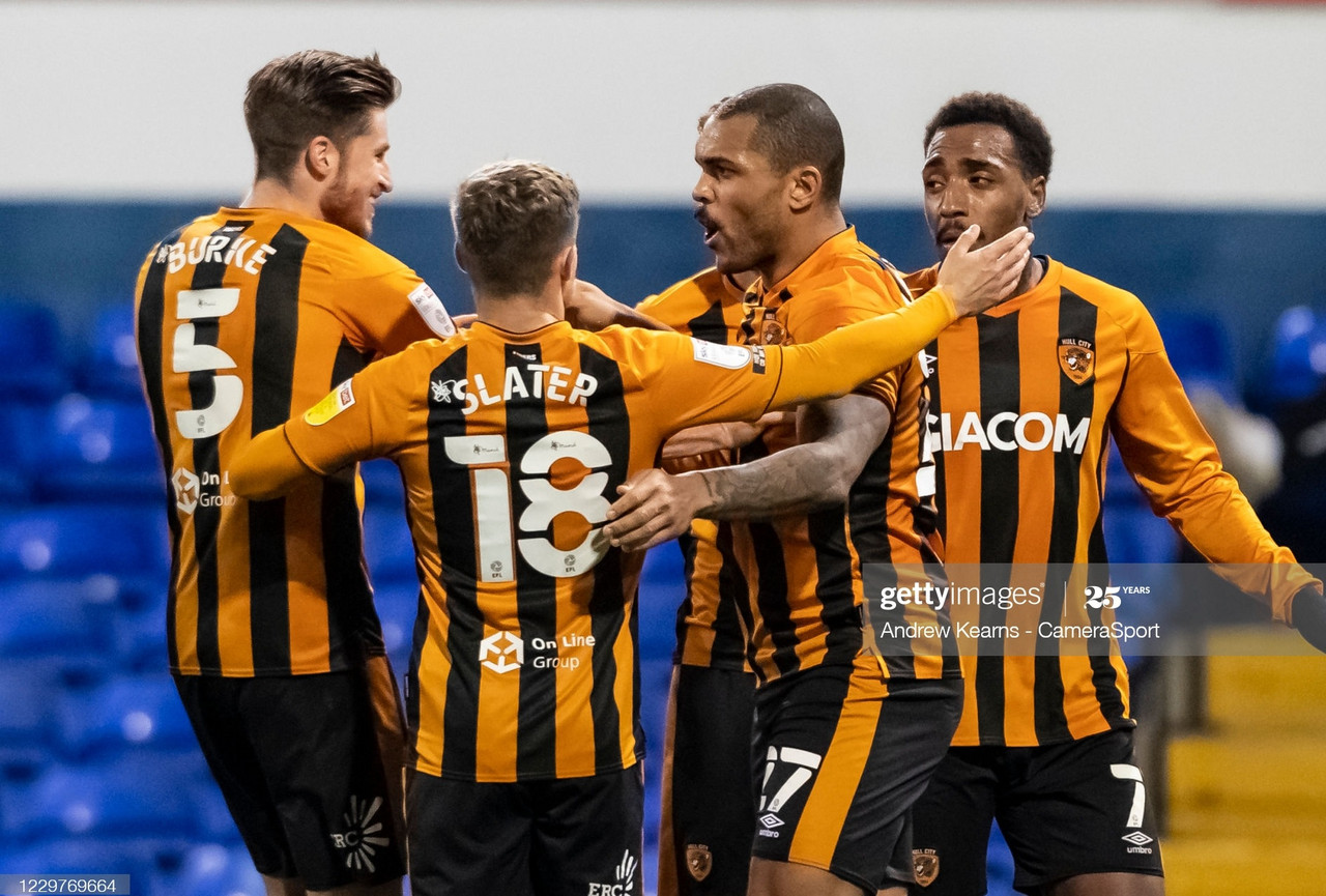 <div>Above: Hull City scored three away at Ipswich Town to stay two points clear at the top of League One</div>(Photo by Andrew Kearns - CameraSport via Getty Images)