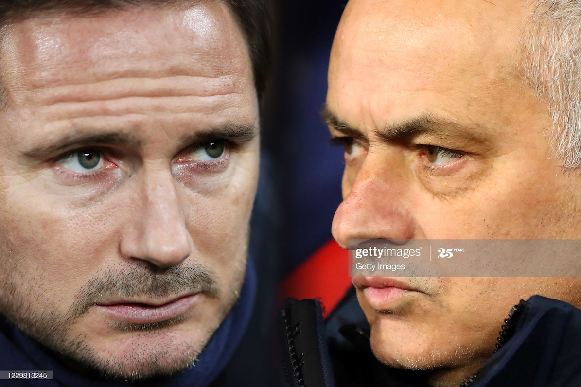 In this composite image a comparison has been made between Frank Lampard, Manager of Chelsea (L) and Jose Mourinho, Manager of Tottenham Hotspur. Chelsea and Tottenham Hotspur meet in a Premier League fixture on November 29,2020 at Stamford Bridge in London, England. ***LEFT IMAGE*** NEWCASTLE UPON TYNE, ENGLAND - JANUARY 18: Frank Lampard, Manager of Chelsea looks on during the Premier League match between Newcastle United and Chelsea FC at St. James Park on January 18, 2020 in Newcastle upon Tyne, United Kingdom. (Photo by Ian MacNicol/Getty Images) ***RIGHT IMAGE*** LEIPZIG, GERMANY - MARCH 10: Jose Mourinho, Manager of Tottenham Hotspur looks on ahead of the UEFA Champions League round of 16 second leg match between RB Leipzig and Tottenham Hotspur at Red Bull Arena on March 10, 2020 in Leipzig, Germany. (Photo by Martin Rose/Bongarts/Getty Images)