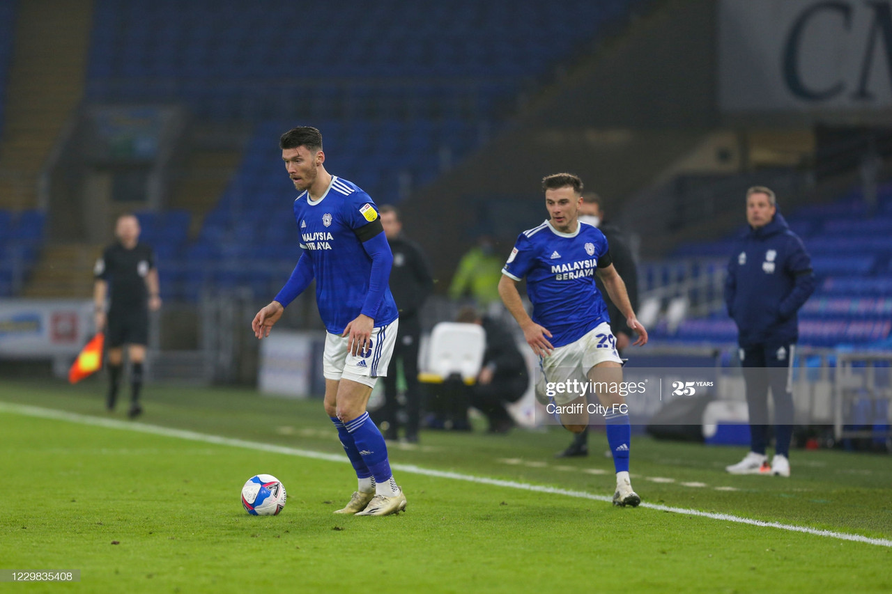<b>Kieffer Moore of Cardiff City FC during the Sky Bet Championship match between Cardiff City and Luton Town at Cardiff City Stadium on November 28, 2020 in Cardiff, Wales. (Photo by Cardiff City FC/Getty Images)</b>