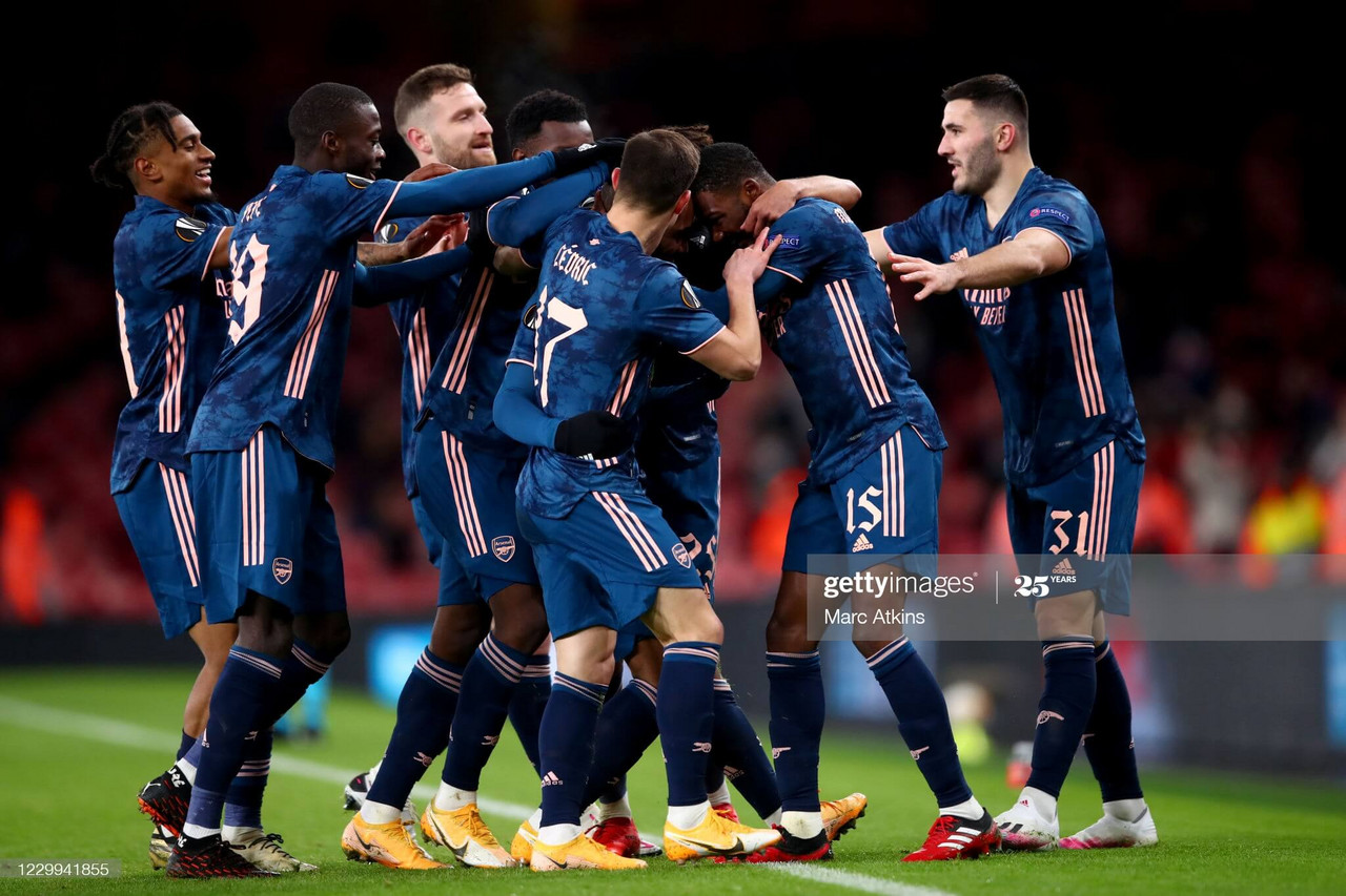 <div>Arsenal FC v Rapid Wien: Group B - UEFA Europa League</div><div><br></div><div>LONDON, ENGLAND - DECEMBER 03: Arsenal players celebrate during the UEFA Europa League Group B stage match between Arsenal FC and Rapid Wien at Emirates Stadium on December 3, 2020 in London, United Kingdom. A limited number of fans are welcomed back to stadiums to watch elite football across England. This was following easing of restrictions on spectators in tiers one and two areas only. (Photo by Marc Atkins/Getty Images)</div>
