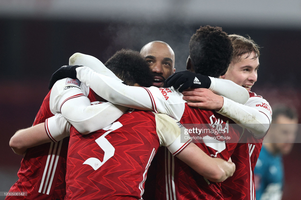 LONDON, ENGLAND - JANUARY 09: Arsenal celebrate their 2nd goal during the FA Cup Third Round match between Arsenal and Newcastle United at Emirates Stadium on January 9, 2021 in London, England. The match will be played without fans, behind closed doors as a Covid-19 precaution. (Photo by Charlotte Wilson/Offside/Offside via Getty Images)