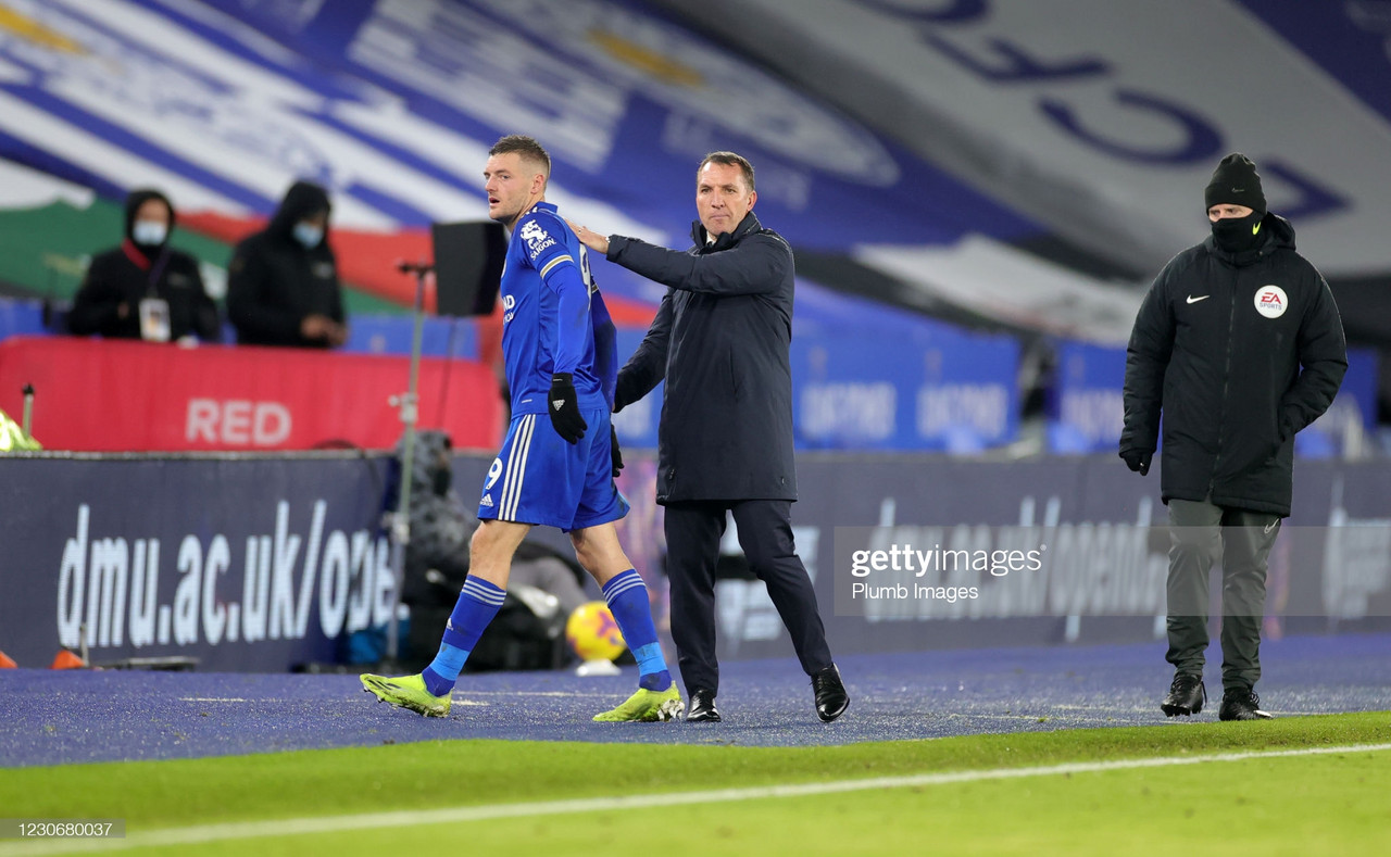 LEICESTER, ENGLAND - JANUARY 19: Jamie Vardy of Leicester City gets a pat on the back from Leicester City Manager Brendan Rodgers during the Premier League match between Leicester City and Chelsea at The King Power Stadium on January 19, 2021 in Leicester, United Kingdom. Sporting stadiums around the UK remain under strict restrictions due to the Coronavirus Pandemic as Government social distancing laws prohibit fans inside venues resulting in games being played behind closed doors. (Photo by Plumb Images/Leicester City FC via Getty Images)