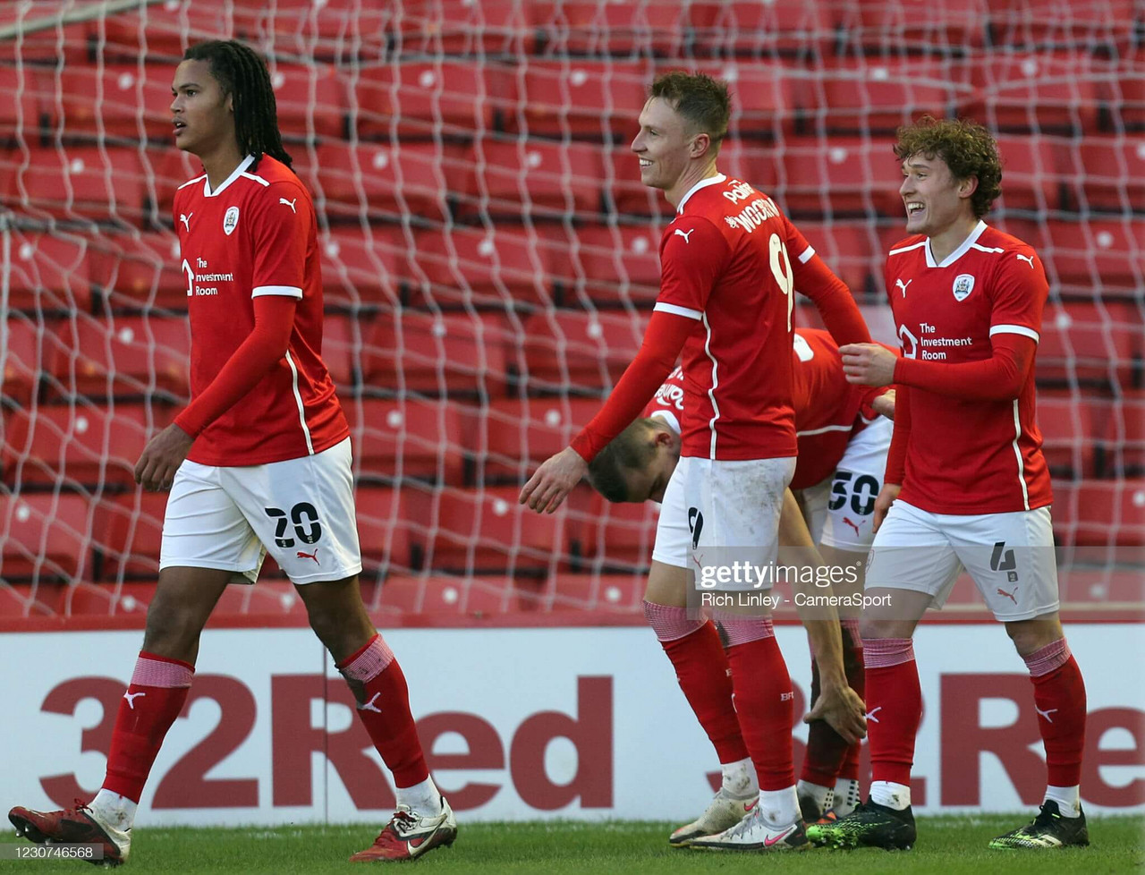 BARNSLEY, ENGLAND - JANUARY 23: Callum Styles (right) celebrates scoring the opening goal during the The Emirates FA Cup Fourth Round match between Barnsley and Norwich City at Oakwell Stadium on January 23, 2021 in Barnsley, England. (Photo by Rich Linley - CameraSport via Getty Images)