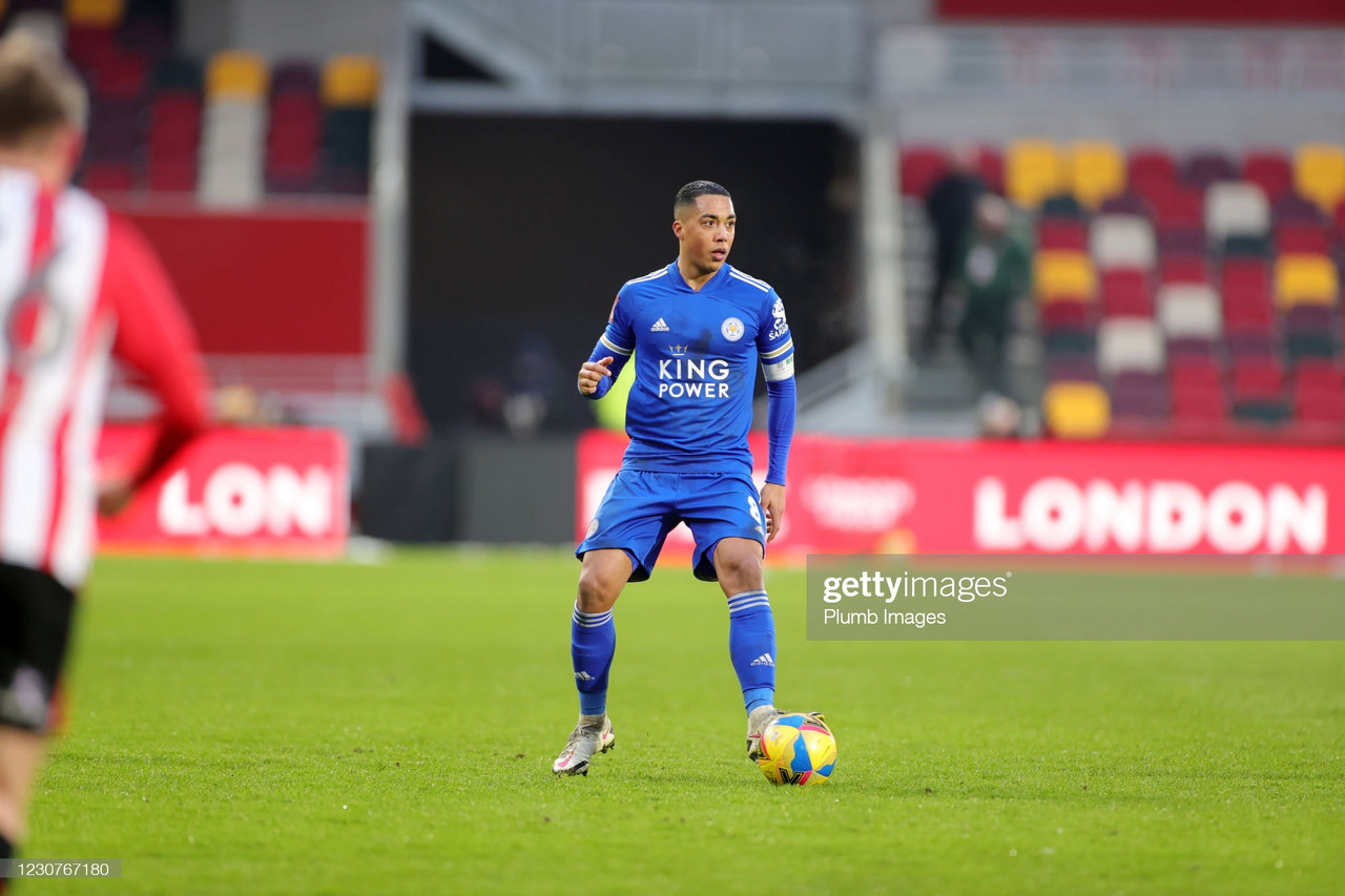 BRENTFORD, ENGLAND - JANUARY 24: Youri Tielemans of Leicester City during The Emirates FA Cup Fourth Round match between Brentford and Leicester City at Brentford Community Stadium on January 24, 2021 in Brentford, England. Sporting stadiums around the UK remain under strict restrictions due to the Coronavirus Pandemic as Government social distancing laws prohibit fans inside venues resulting in games being played behind closed doors. (Photo by Plumb Images/Leicester City FC via Getty Images)