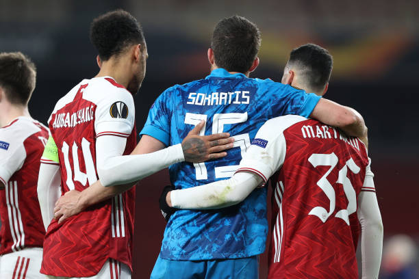 The warm down: Arsenal progress to the quarter finals of the Europa League.