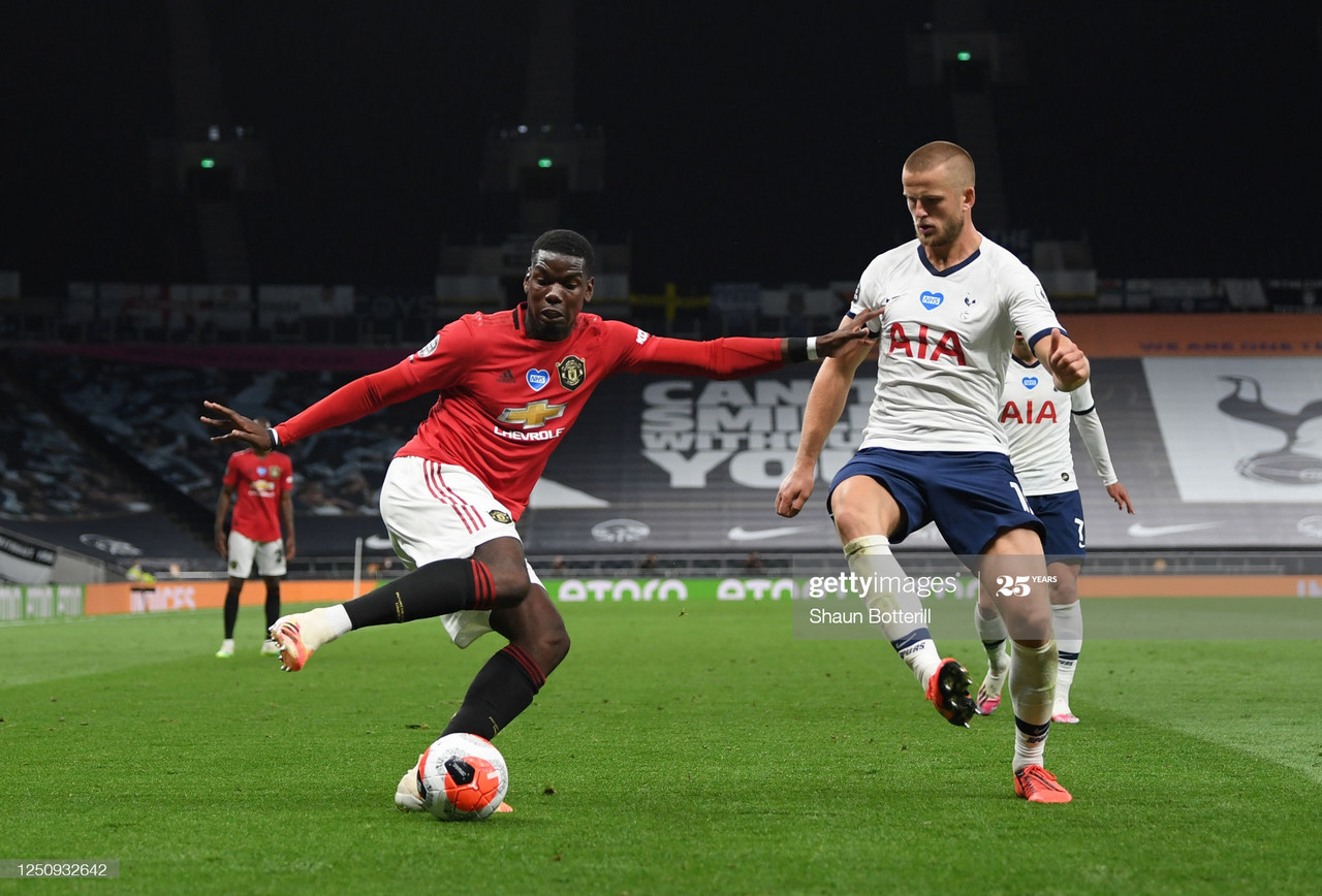 LONDON, ENGLAND - JUNE 19: Paul Pogba of Manchester United is challenged by Eric Dier of Tottenham Hotspur during the Premier League match between Tottenham Hotspur and Manchester United at Tottenham Hotspur Stadium on June 19, 2020 in London, England. (Photo by Shaun Botterill/Getty Images)