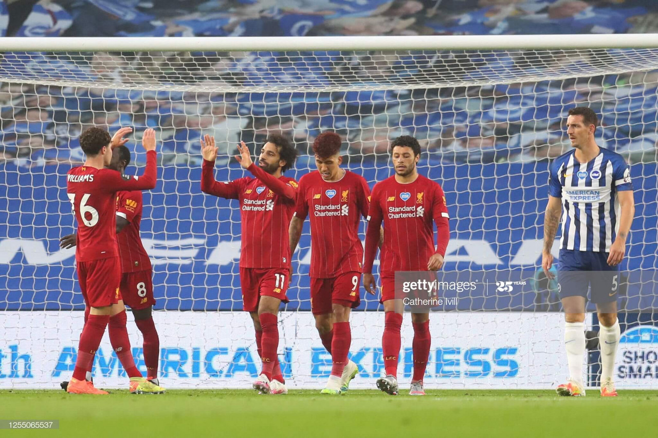 Brighton & Hove Albion 1-3 Liverpool: Salah at the double as champions cruise at the AMEX