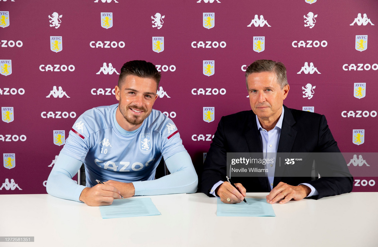 BIRMINGHAM, ENGLAND - SEPTEMBER 15: (BIRMINGHAM POST AND MAIL AND BIRMINGHAM LIVE OUT) Jack Grealish signs a new contract at Aston Villa at Bodymoor Heath training ground on September 15, 2020 in Birmingham, England. (Photo by Neville Williams/Aston Villa FC via Getty Images)