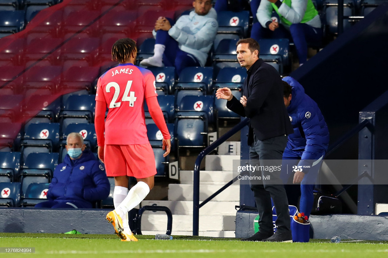 Frank Lampard and Reece James during Chelsea's 3-3 draw with West Bromich ALbion (Soure: Getty Images)