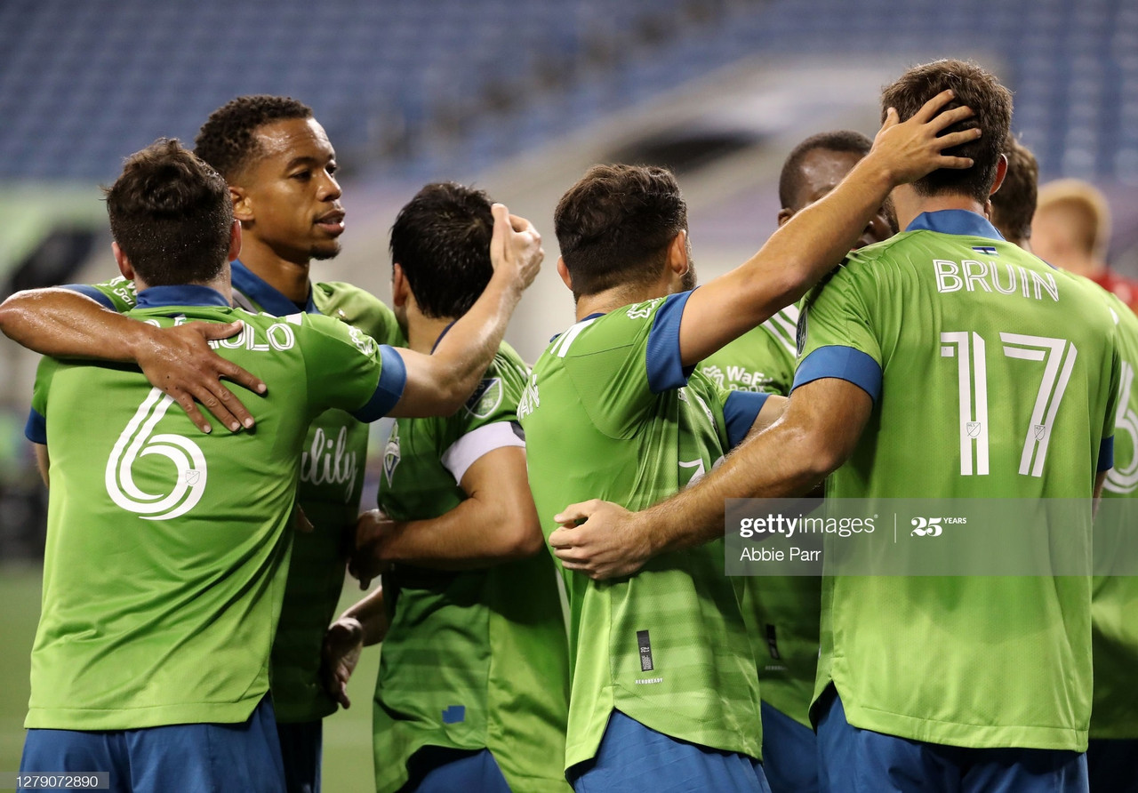 <div>Above: Seattle Sounders celebrate their first goal of the night</div>(Photo by Abbie Parr/Getty Images)
